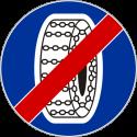 C-19 Koniec nakazu używania łańcuchów przeciwpoślizgowych - znak drogowy nakazu