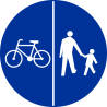 C-13/16 Znak wskazujący ruch rowerów lewą stroną drogi i ruch pieszych prawą stroną drogi - znak drogowy nakazu